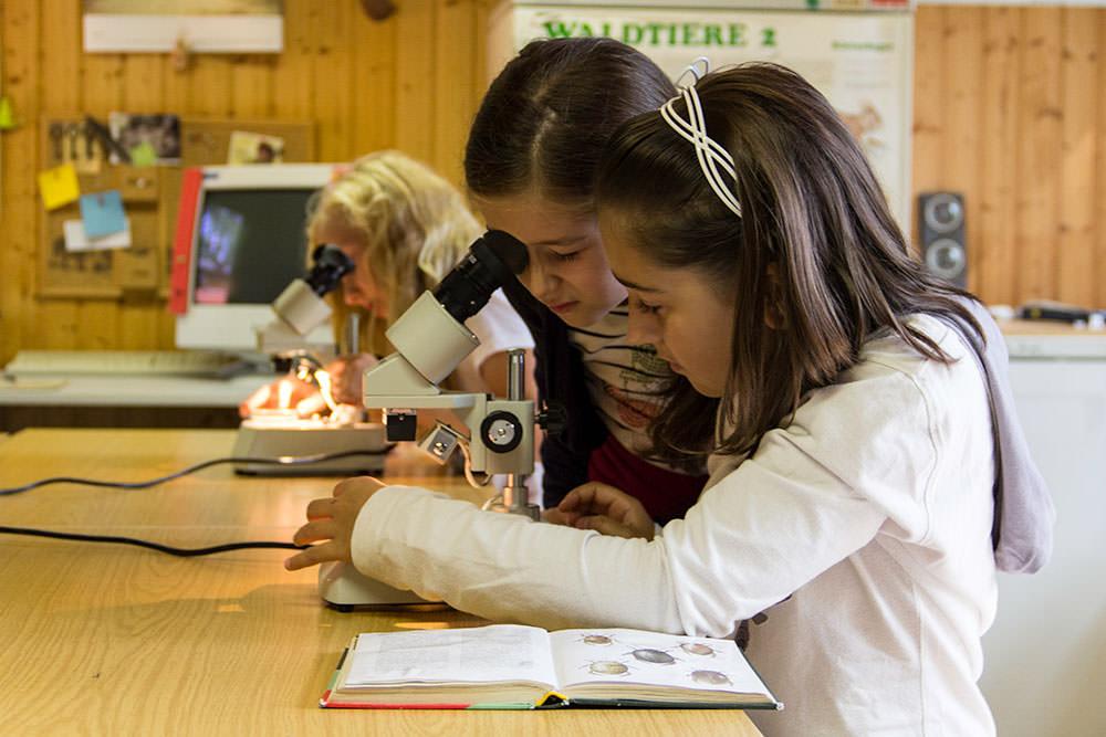 Kind studenten wissenschaft pädagogisches mikroskop kinder